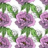 Vector Peony floral botanical flower Wild spring leaf wildflower isolated Engraved ink art Seamless background pattern Fabric wallpaper print texture