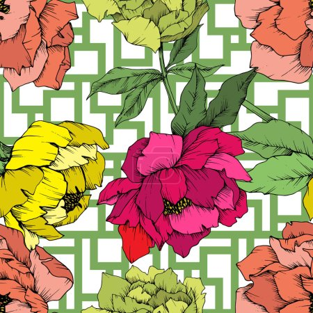 Illustration for Vector Peony floral botanical flower. Wild spring leaf wildflower isolated. Engraved ink art. Seamless background pattern. Fabric wallpaper print texture. - Royalty Free Image