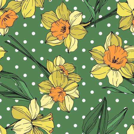 Ilustración de Flor botánica floral Narciso amarillo vector. Wildflower de hoja de primavera salvaje aislado. Tinta grabado arte. Patrón de fondo transparente. Textura impresión de papel pintado de tela. - Imagen libre de derechos