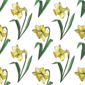 Vector Yellow Narcissus floral botanical flower Wild spring leaf wildflower isolated Engraved ink art Seamless background pattern Fabric wallpaper print texture
