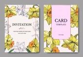 Vector Yellow Narcissus floral botanical flower. Wild spring leaf isolated. Engraved ink art. Wedding background card floral decorative border. Elegant card illustration graphic set banner.