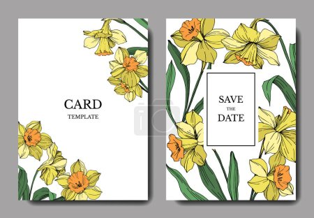 Illustration for Vector Yellow Narcissus floral botanical flower. Wild spring leaf isolated. Engraved ink art. Wedding background card floral decorative border. Elegant card illustration graphic set banner. - Royalty Free Image