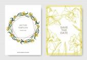 Vector Yellow Narcissus floral botanical flower Wild spring leaf isolated Engraved ink art Wedding background card floral decorative border Elegant card illustration graphic set banner