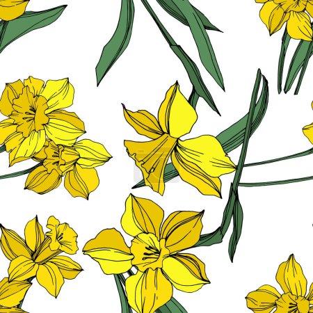 Illustration pour Vector Fleur botanique florale Narcisse jaune. Feuille sauvage de printemps fleur sauvage isolée. Encre gravée. Modèle de fond sans couture. Texture d'impression papier peint tissu . - image libre de droit