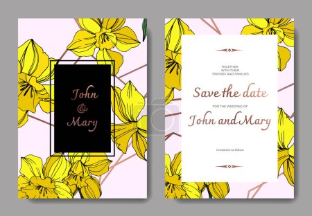 Illustration for Vector Yellow Narcissus floral botanical flower. Wild spring leaf isolated. Engraved ink art. Wedding background card floral decorative border. Elegant card illustration graphic set banner. - Royalty Free Image