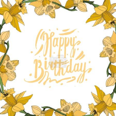 Illustration pour Vector jaune floral botanique fleur du Narcisse. Wildflower de feuille de printemps sauvage isolé. Egraved l'art d'encre. Place de cadre bordure ornement. - image libre de droit