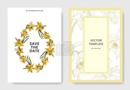 Illustration pour Vector floral botanique fleur du Narcisse. Wildflower de feuille de printemps sauvage isolé. Noir et blanc gravé art d'encre. - image libre de droit