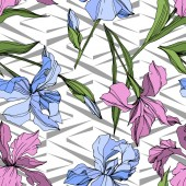 Vector pink and blue irises Engraved ink art Seamless background pattern Fabric wallpaper print texture