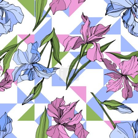 Illustration for Vector pink and blue irises. Engraved ink art. Seamless background pattern. Fabric wallpaper print texture. - Royalty Free Image
