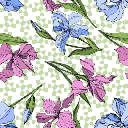 Vector pink and blue irises. Engraved ink art. Seamless background pattern. Fabric wallpaper print texture.