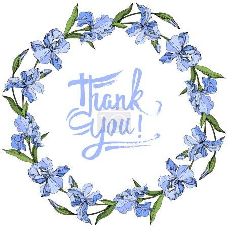 Illustration for Vector Blue iris floral botanical flower. Wild spring leaf wildflower isolated. Engraved ink art. Frame border ornament square. - Royalty Free Image