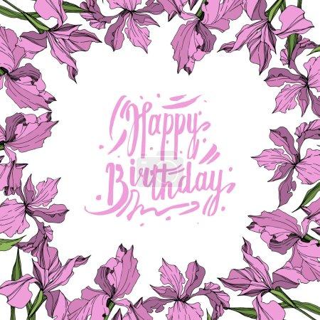 Illustration for Vector Pink iris floral botanical flower. Wild spring leaf wildflower isolated. Engraved ink art. Frame border ornament square. - Royalty Free Image