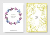 Vector Irises illustration Greeting cards templates with flowers