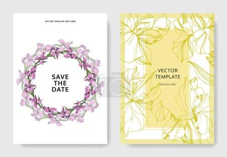 Illustration pour Vector illustration Iris. Modèles de cartes de voeux avec des fleurs, - image libre de droit