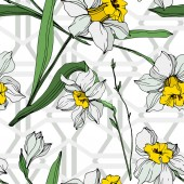 Vector white and yellow narcissus flowers with green leaves Engraved ink art on white background Seamless background pattern