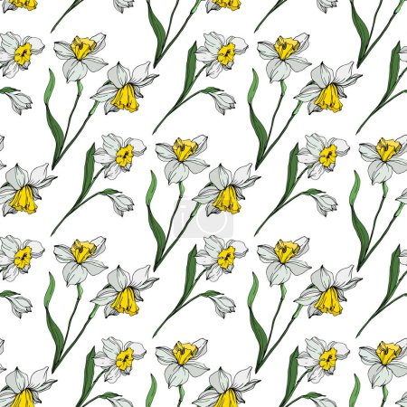 Illustration for Vector white and yellow narcissus flowers with green leaves. Engraved ink art on white background. Seamless background pattern. - Royalty Free Image
