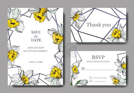 Illustration for Vector elegant wedding invitation cards with white narcissus flowers illustration. Engraved ink art. - Royalty Free Image