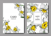 Vector elegant wedding invitation cards with white narcissus flowers illustration Engraved ink art