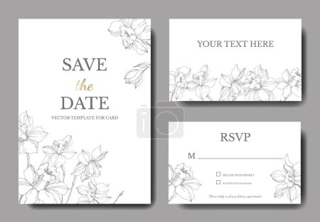 Illustration for Vector elegant wedding invitation cards with white narcissus flowers illustration. Engraved ink art. - Royalty Free Image