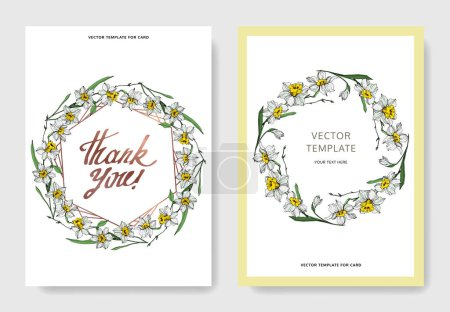 Illustration pour Vector elegant wedding invitation cards with white narcissus flowers illustration. Engraved ink art. - image libre de droit