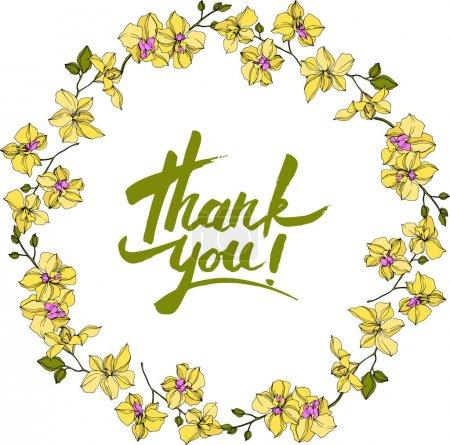 Ilustración de Vector wreath of orchid flowers isolated on white with thank you lettering - Imagen libre de derechos