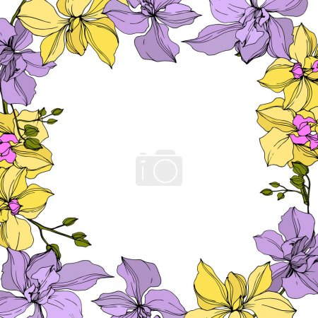 Illustration for Background with vector wreath of yellow and violet orchid flowers isolated on white with copy space - Royalty Free Image