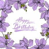 "Постер, картина, фотообои ""Vector wreath of orchid flowers isolated on white with happy birthday lettering"""