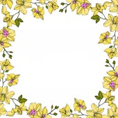 background with vector wreath of yellow orchid flowers isolated on white with copy space