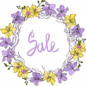 Vector wreath of orchid flowers isolated on white with sale lettering