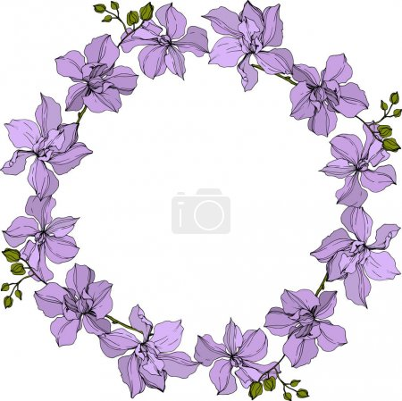 Illustration for Background with vector wreath of violet orchid flowers isolated on white with copy space - Royalty Free Image