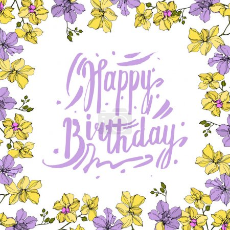 Illustration for Vector wreath of orchid flowers isolated on white with happy birthday lettering - Royalty Free Image