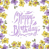 Vector wreath of orchid flowers isolated on white with happy birthday lettering