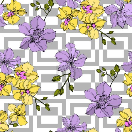 Illustration for Vector yellow and violet orchid flowers. Engraved ink art. Seamless background pattern. - Royalty Free Image