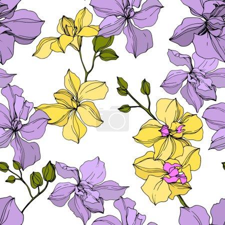 Illustration pour Fleurs vectorielles d'orchidée jaune et violette. Encre gravée. Modèle de fond sans couture . - image libre de droit