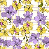 Vector yellow and violet orchid flowers Engraved ink art Seamless background pattern