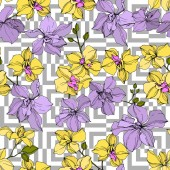 """Постер, картина, фотообои """"Vector yellow and violet orchid flowers. Engraved ink art. Seamless background pattern. """""""