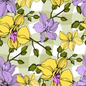 Vector yellow and violet orchid flowers. Engraved ink art. Seamless background pattern.