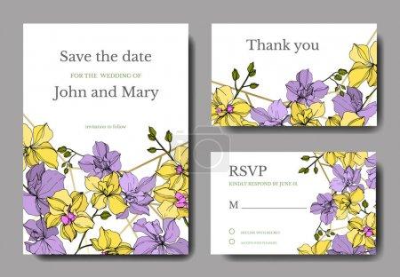 Illustration pour Fleurs d'orchidée de vecteur. Art d'encre gravé jaune et violet. Cartes de fond de mariage. Ensemble graphique de cartes élégantes d'invitation. - image libre de droit