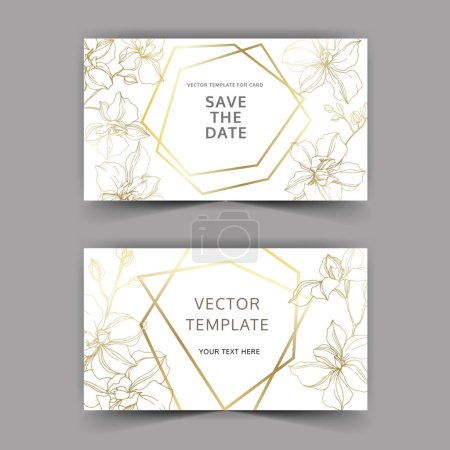 Illustration for Vector Orchid flowers. Yellow and violet engraved ink art. Wedding background cards. Invitation elegant cards graphic set. - Royalty Free Image