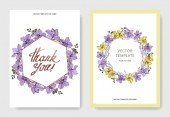 Vector Orchid flowers Yellow and violet engraved ink art Wedding background cards Invitation elegant cards graphic set