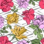Yellow red and violet vector roses with green leaves Engraved ink art Seamless background pattern