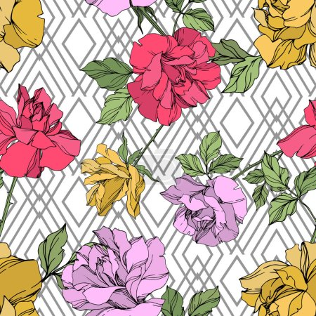 Yellow, red and violet vector roses with green leaves. Engraved ink art. Seamless background pattern.