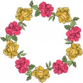 Vector wreath of roses with leaves isolated on white with copy space Engraved ink art Frame border ornament