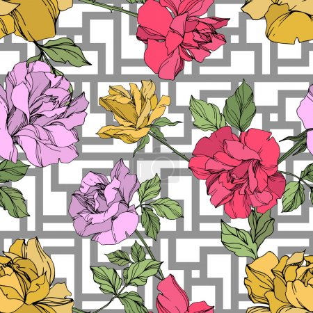 Illustration for Yellow, red and violet vector roses with green leaves. Engraved ink art. Seamless background pattern. - Royalty Free Image
