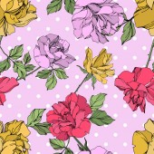 "Постер, картина, фотообои ""Yellow, red and violet vector roses with green leaves. Engraved ink art. Seamless background pattern. """