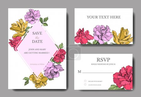 Illustration for Vector Roses flowers. Engraved ink art. Wedding background cards. Elegant cards illustration graphic set. - Royalty Free Image