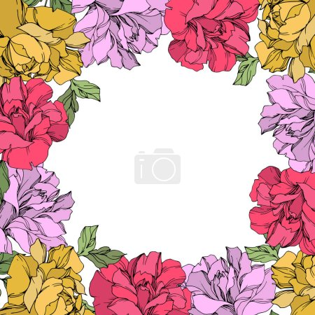 Illustration for Vector wreath of roses with leaves isolated on white with copy space. Engraved ink art. Frame border ornament. - Royalty Free Image