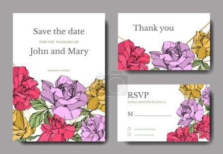 Illustration for Vector Roses flowers. Engraved ink art. Wedding background cards. Elegant cards illustration graphic set. - Royalty Free Image