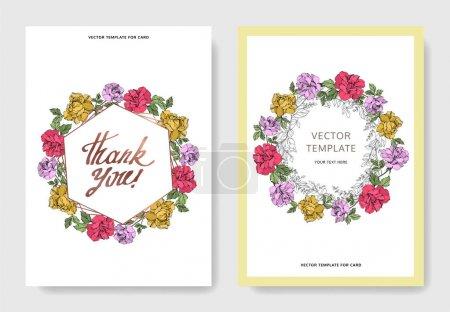 Illustration pour Fleurs de Roses vectorielles. Encre gravée. Cartes de fond de mariage. Elégant jeu graphique d'illustration de cartes . - image libre de droit