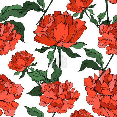 Illustration for Vector red peonies with leaves isolated on white. Seamless background pattern. - Royalty Free Image